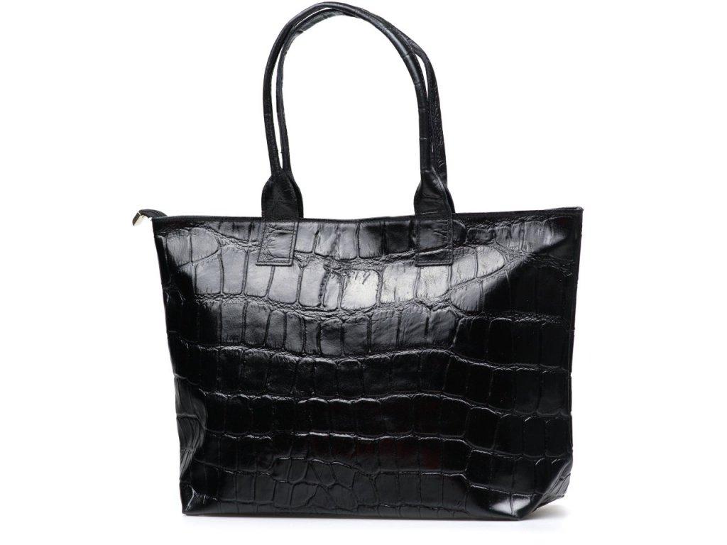 Kožená shopper kabelka Tiara černá
