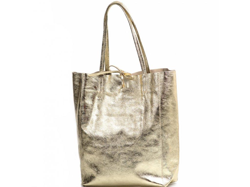 Kožená shopper kabelka Solange zlatá