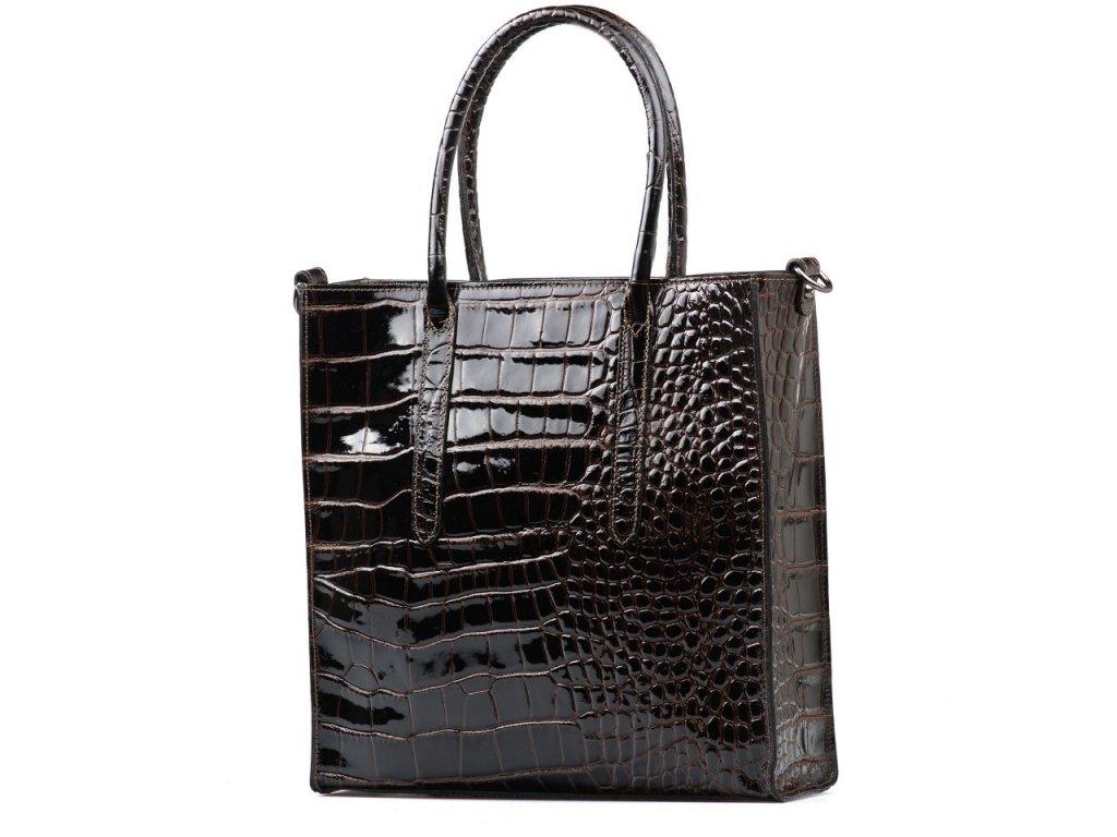 Kožená lakovaná kabelka Debora tmavě hnědá