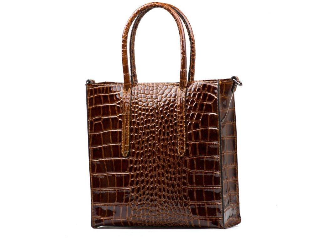 Kožená lakovaná kabelka Debora hnědá