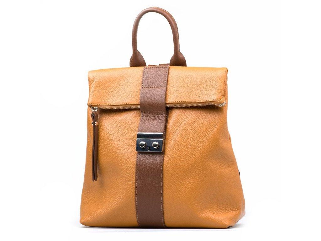 Kožený batůžek Greta koňakově hnědý