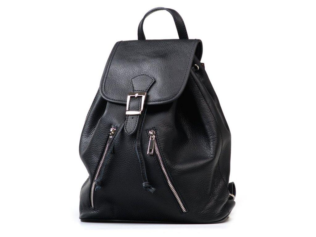 Kožený batůžek Ines černý