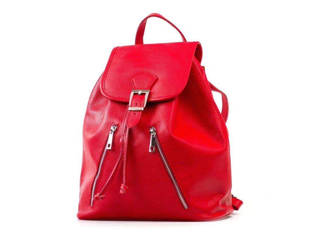 Kožený batůžek Ines červený