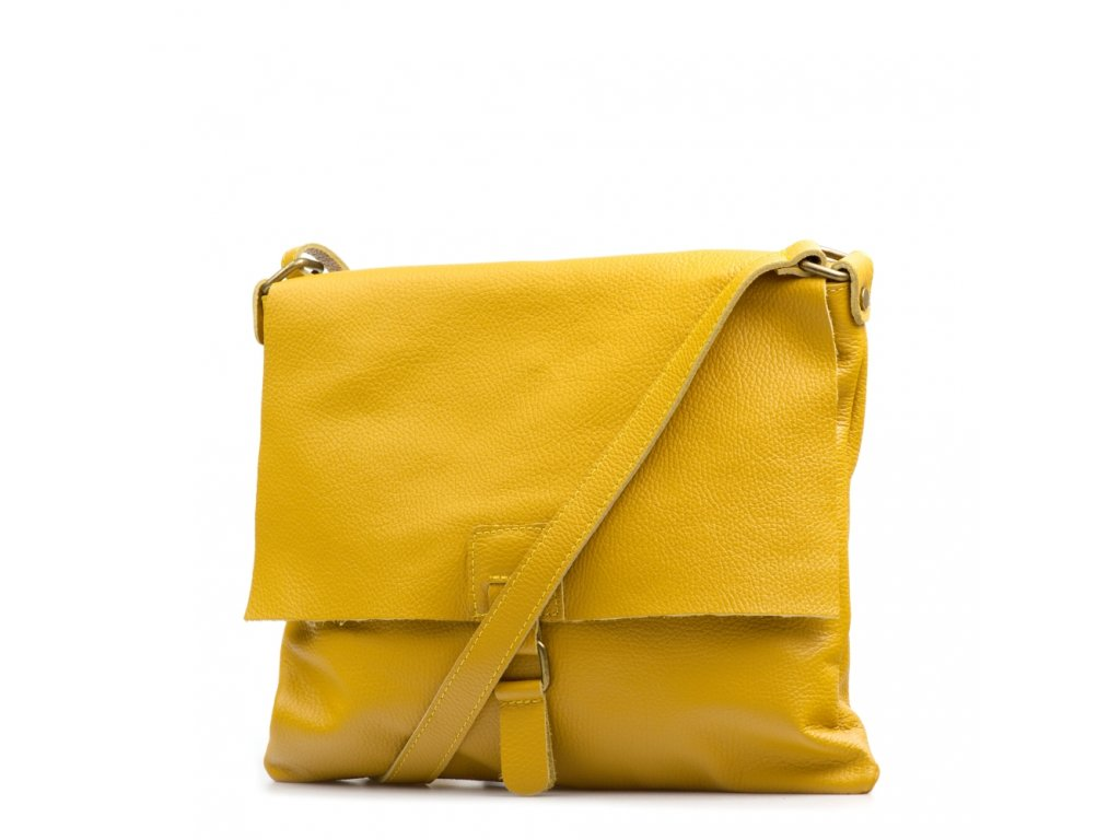 Kožená crossbody kabelka Febe hořčicově žlutá