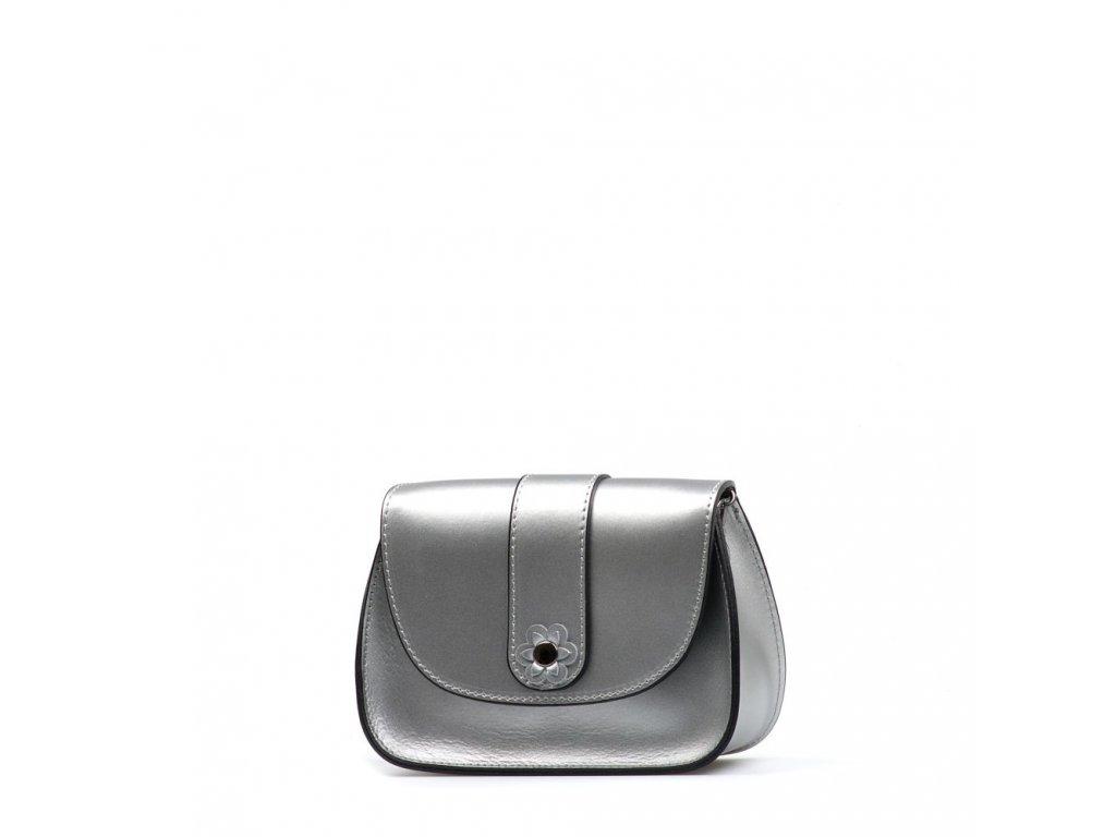 Kožená crossbody kabelka Mirela stříbrná