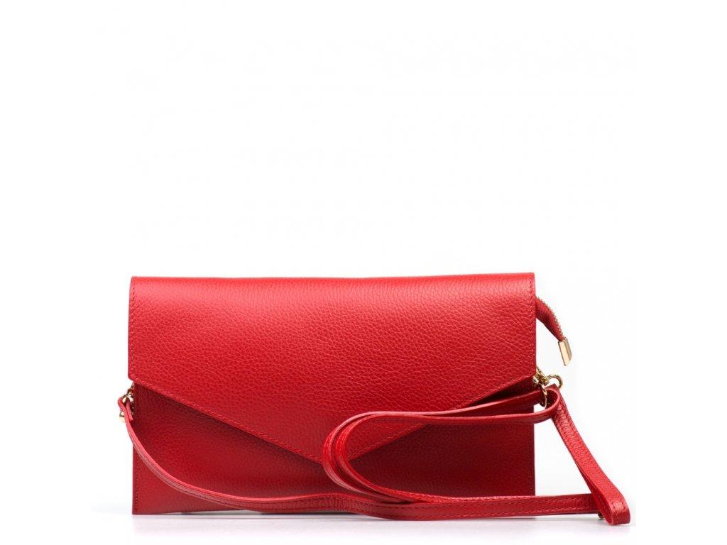 Kožená kabelka-psaníčko Naomi červená