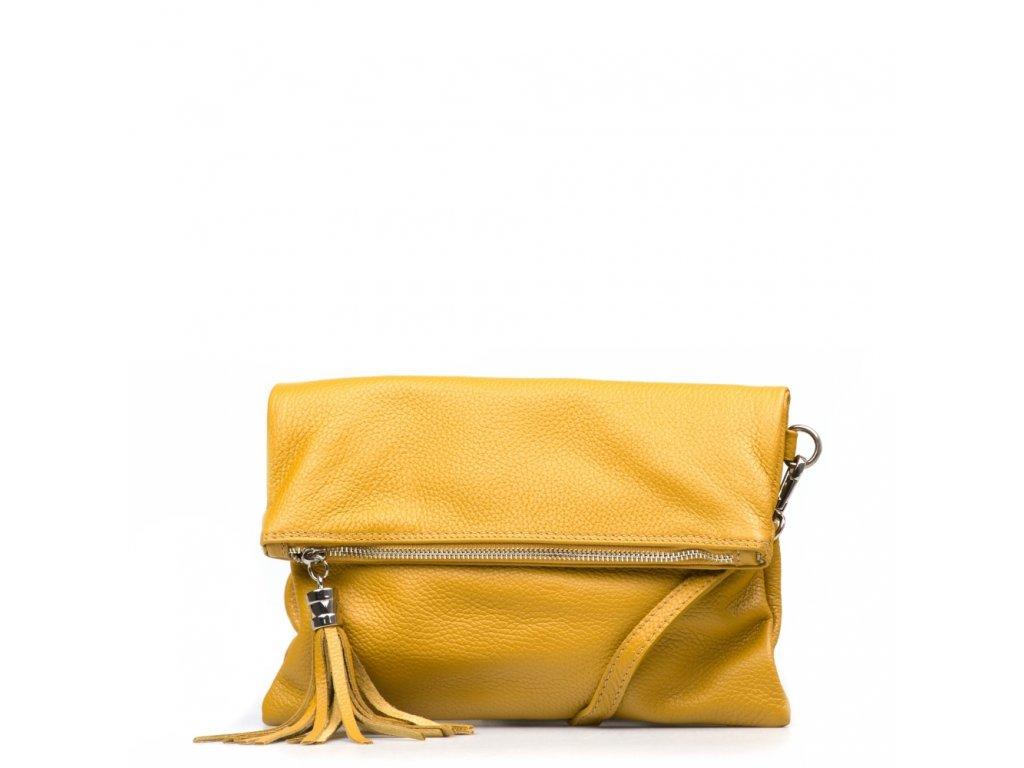 Kožená crossbody kabelka Maura hořčicově žlutá