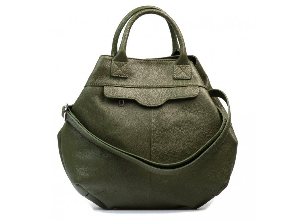 Kožená maxi kabelka Tiziana zelená
