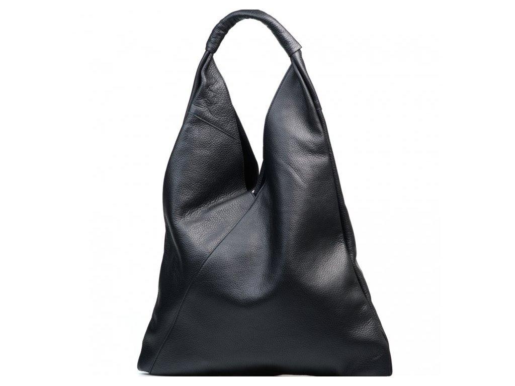 Kožená maxi kabelka Carla černá