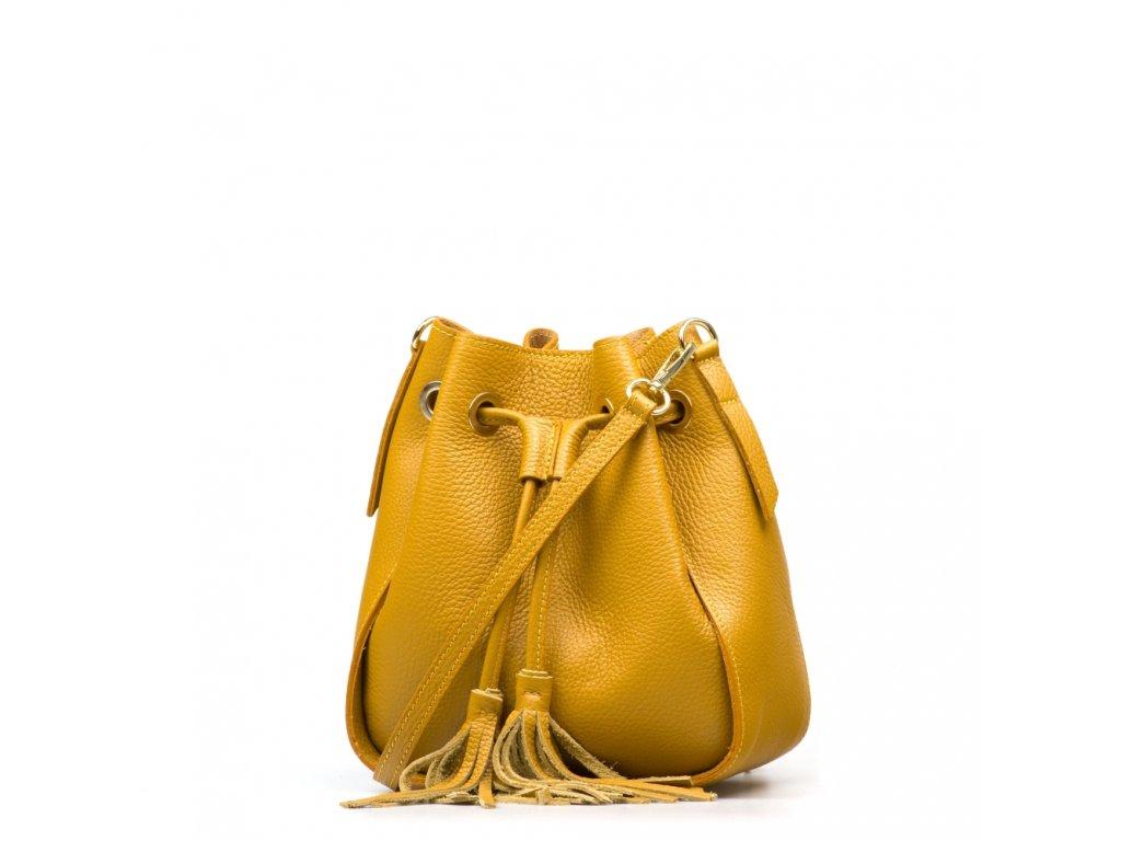 Kožená kabelka Linna hořčicově žlutá