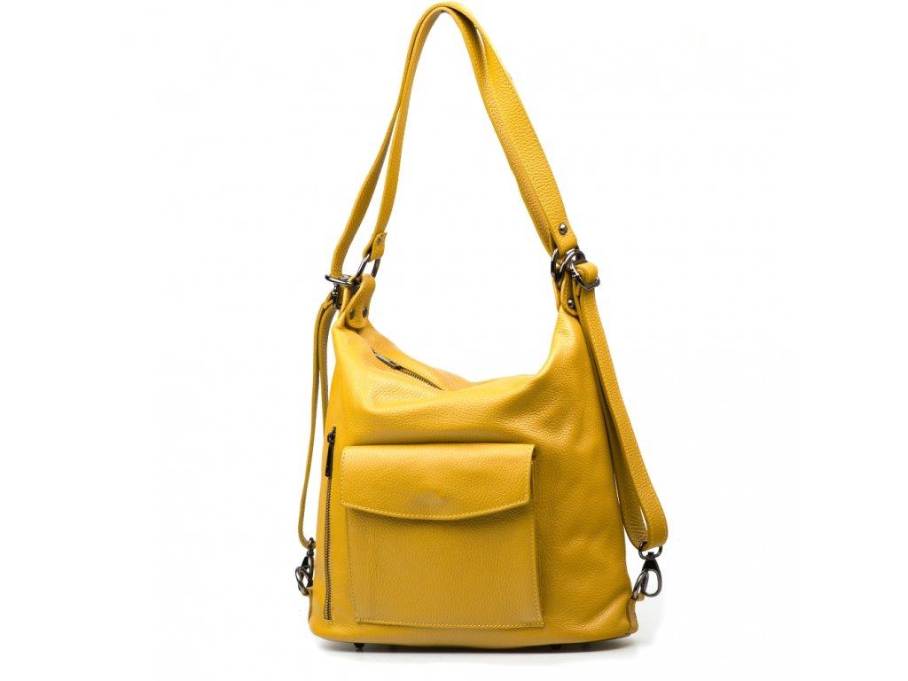 Kožená kabelka-batůžek Zoe hořčicově žlutá