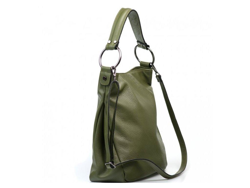Kožená kabelka Antonella olivově zelená