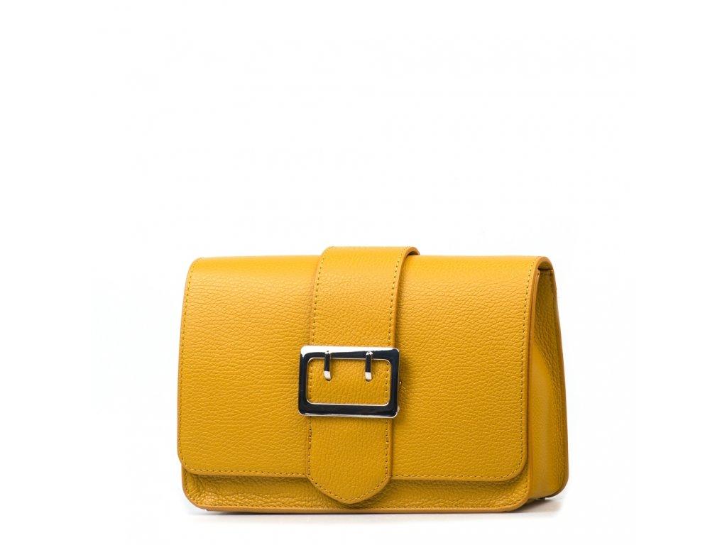 Kožená kabelka se sponou Lorena hořčicově žlutá