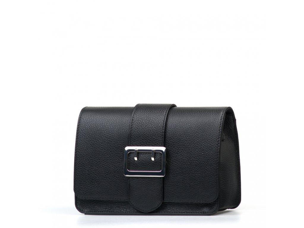Kožená kabelka se sponou Lorena černá