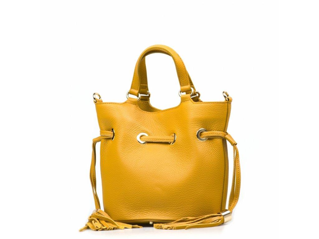 Kožená kabelka s třásněmi Ania hořčicově žlutá