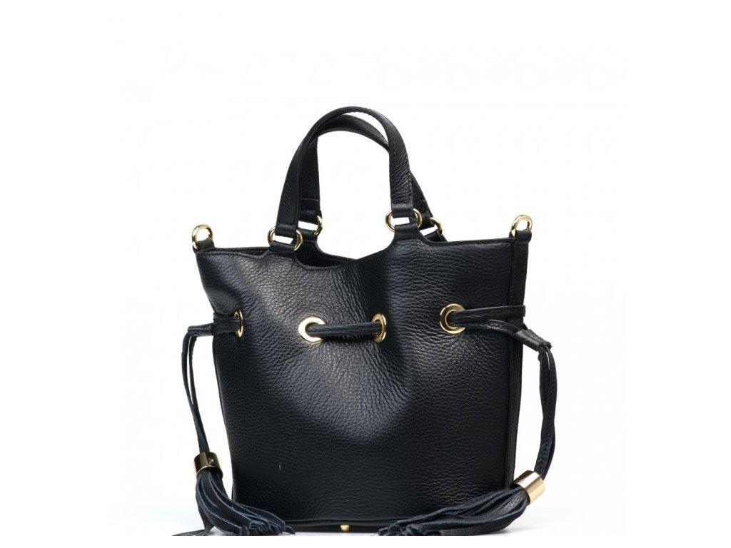 Kožená kabelka s třásněmi Ania černá