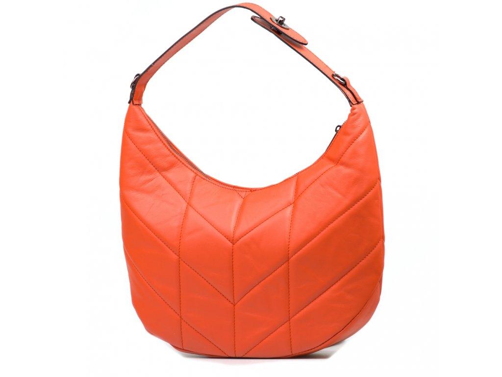 Kožená prošívaná kabelka Corina oranžová