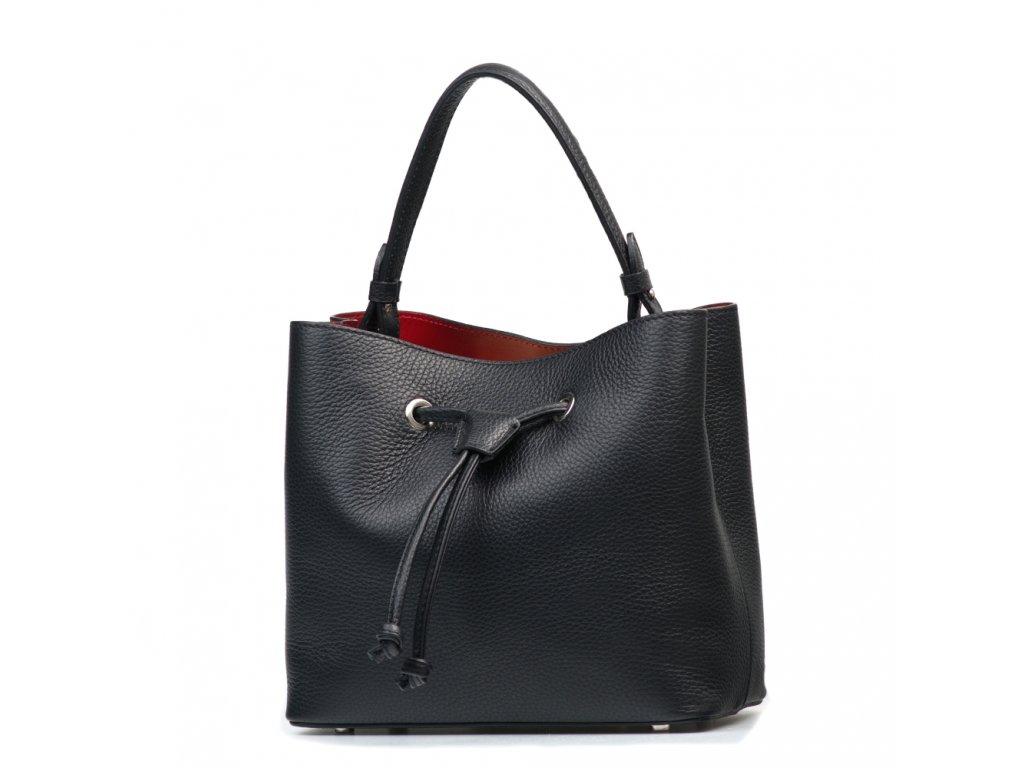 Kožená kabelka s červeným interiérem Beata černá