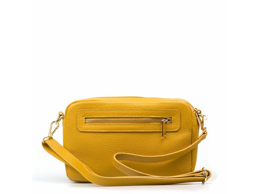 Kožená crossbody kabelka Brita hořčicově žlutá