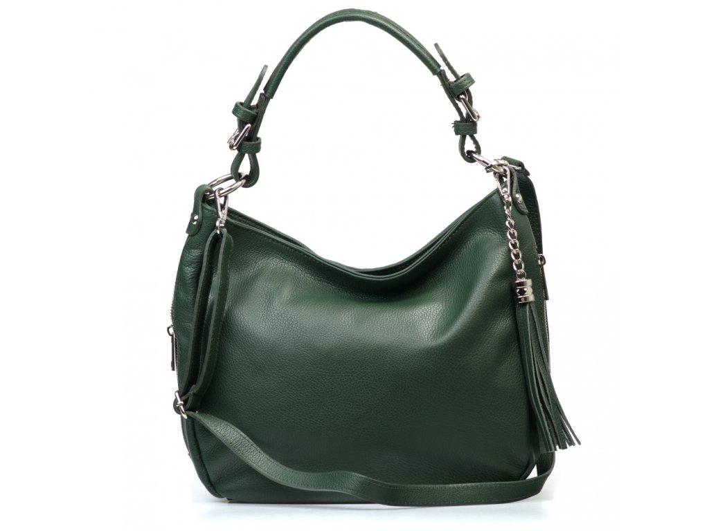 Kožená kabelka Mira zelená