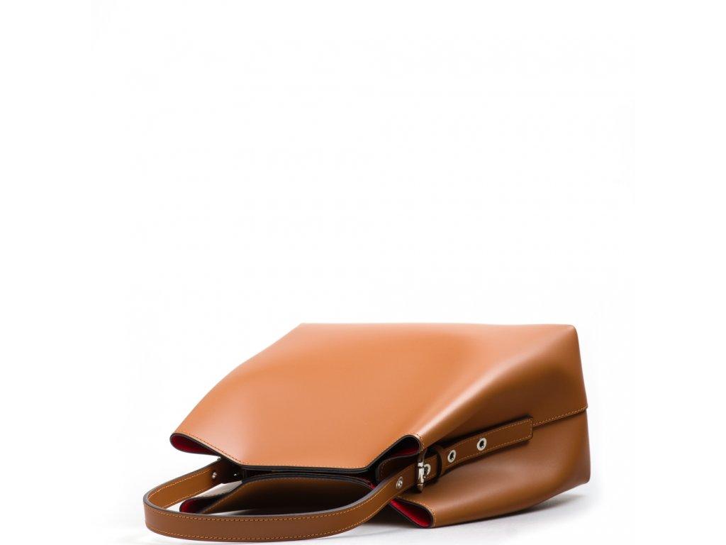 Kožená kabelka Sarah koňakovo-červená
