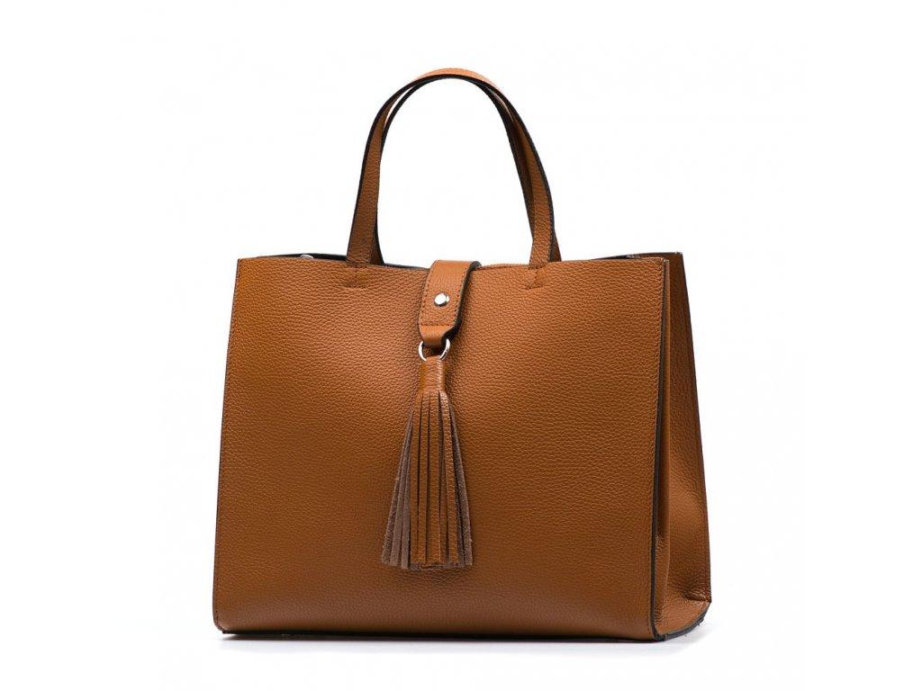 Kožená kabelka Serena koňakově hnědá