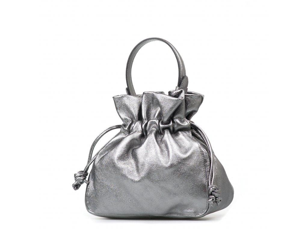 Kožená kabelka Maggie kovově stříbrná