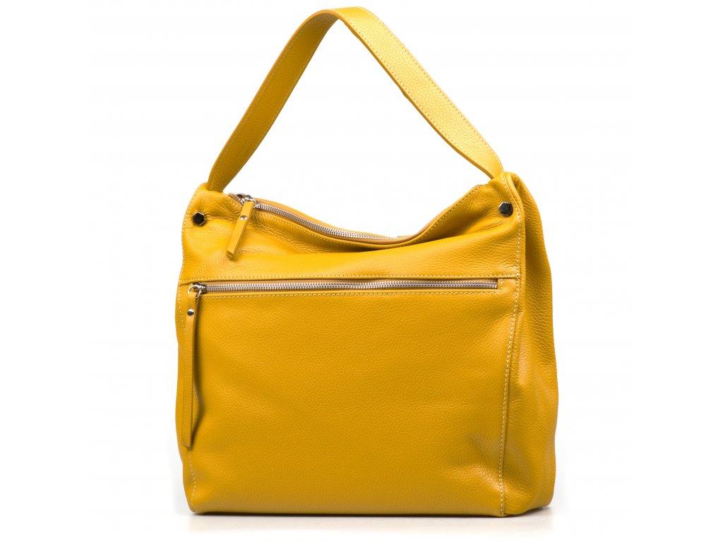 Kožená kabelka Daria hořčicově žlutá