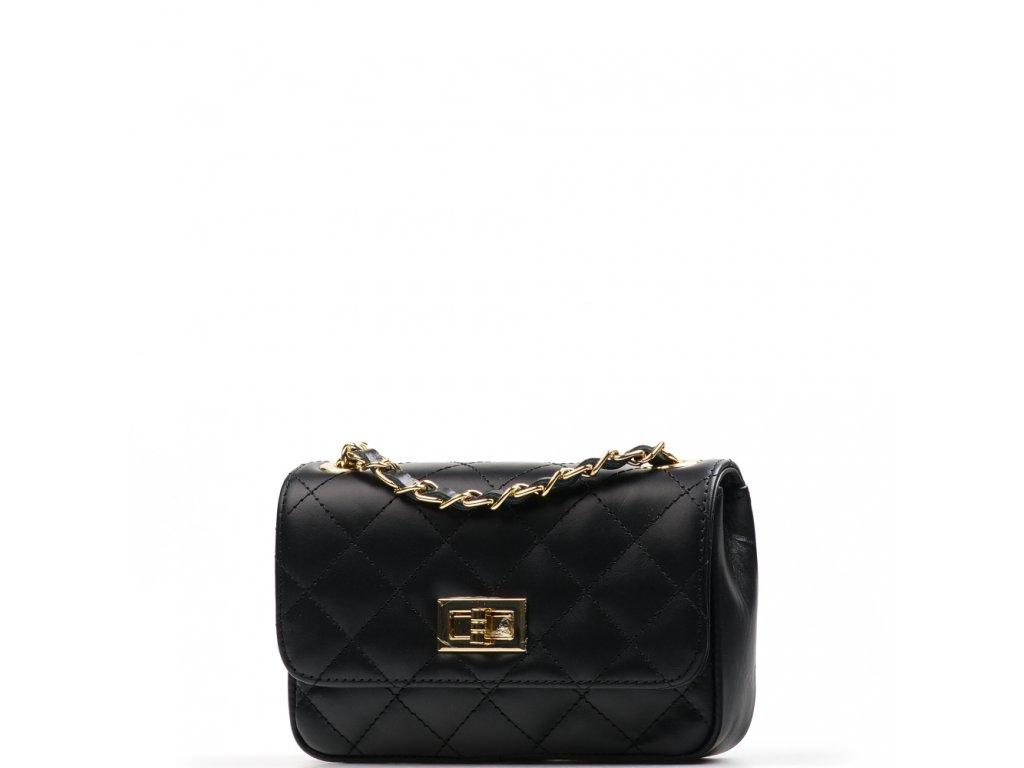 Kožená prošívaná kabelka Flo černá