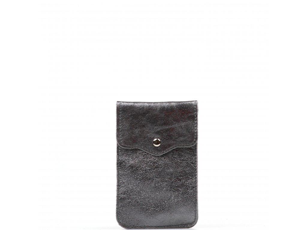 Kožená mini kabelka Jessi na telefon kovově stříbrná