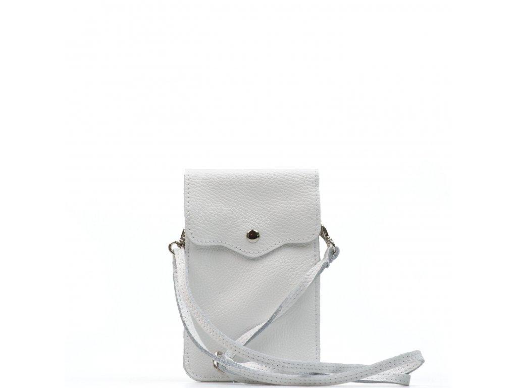 Kožená mini kabelka Jessi na telefon bílá