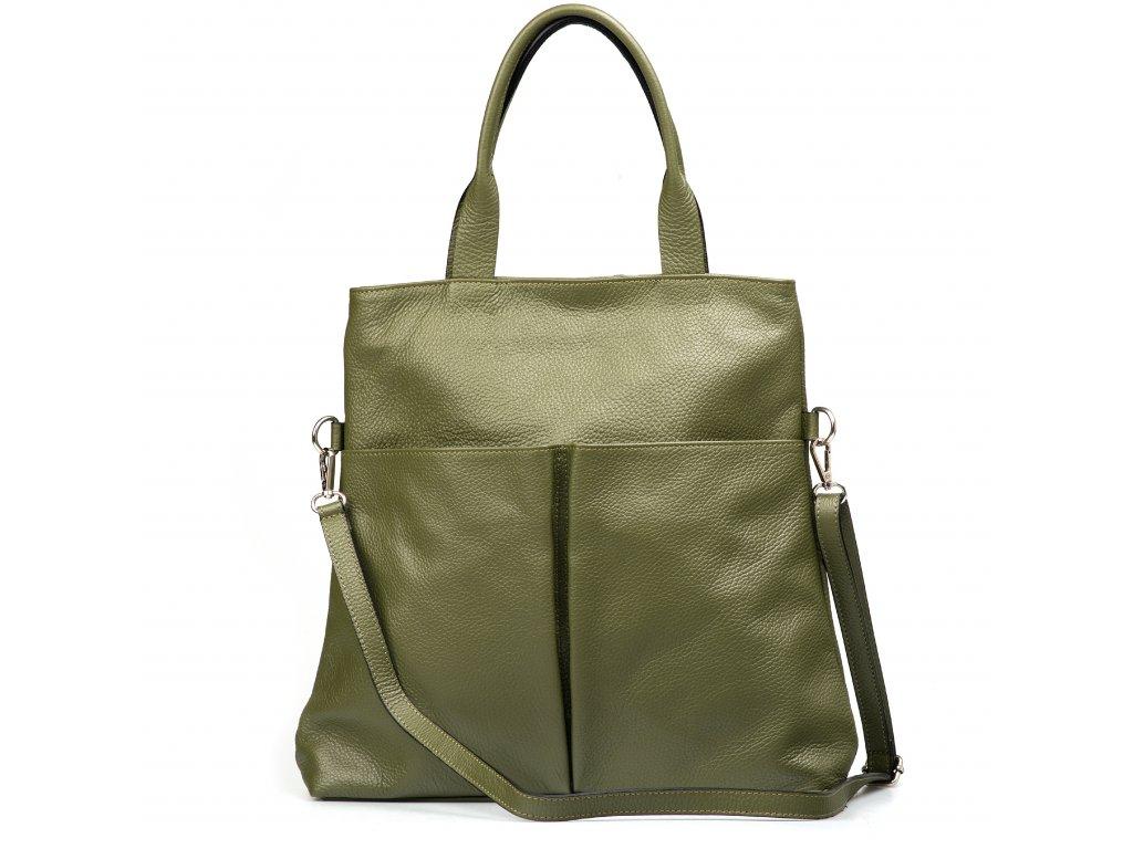 Kožená kabelka Brunella olivově zelená