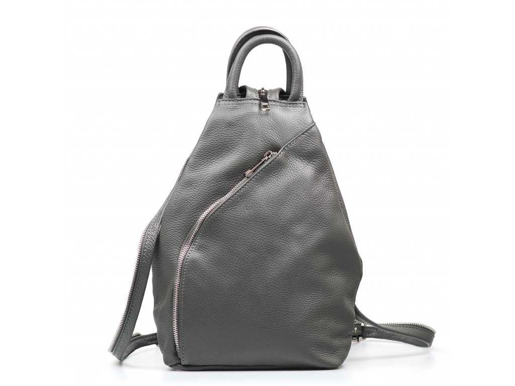Kožený batůžek Margaret šedý