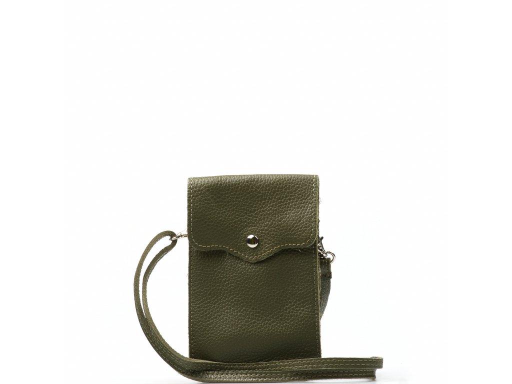 Kožená mini kabelka Jessi na telefon zelená