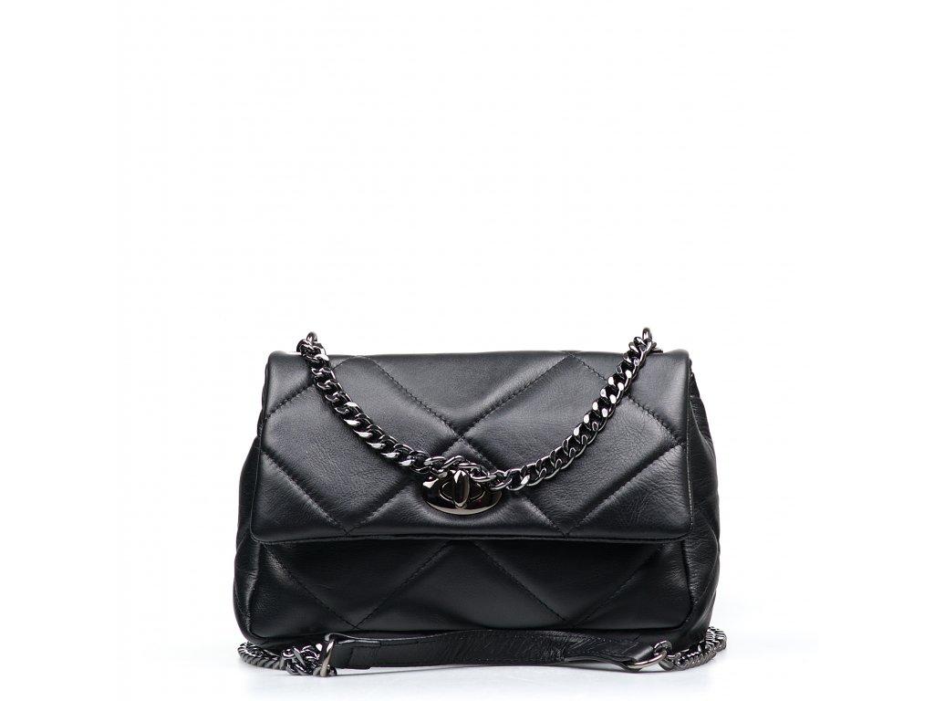 Kožená prošívaná kabelka Monia černá