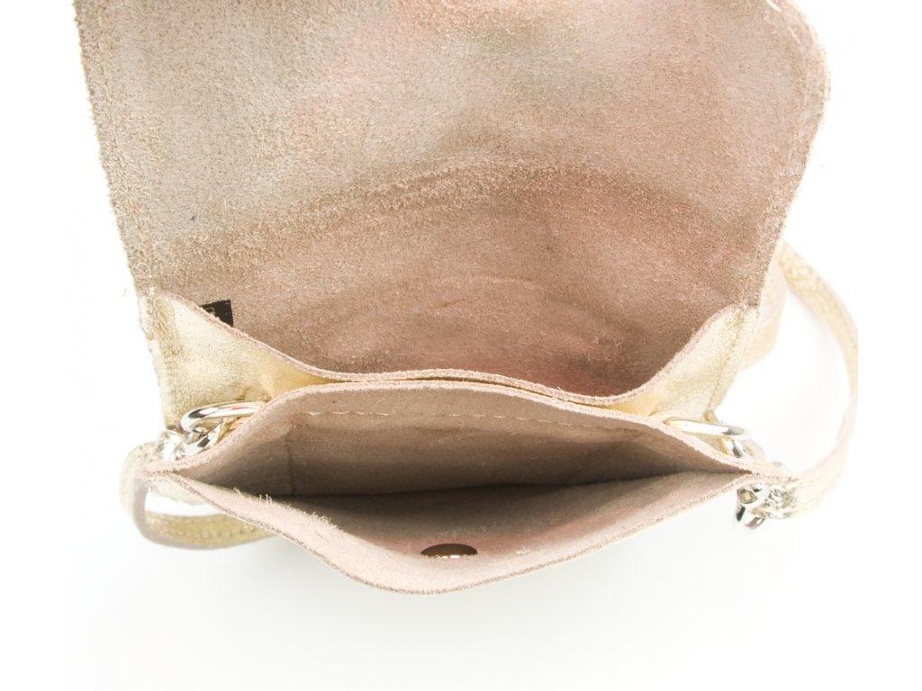 Kožená mini kabelka Jessi na telefon zlatá