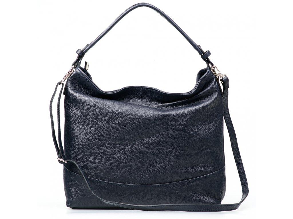 Kožená kabelka Shaila tmavě modrá