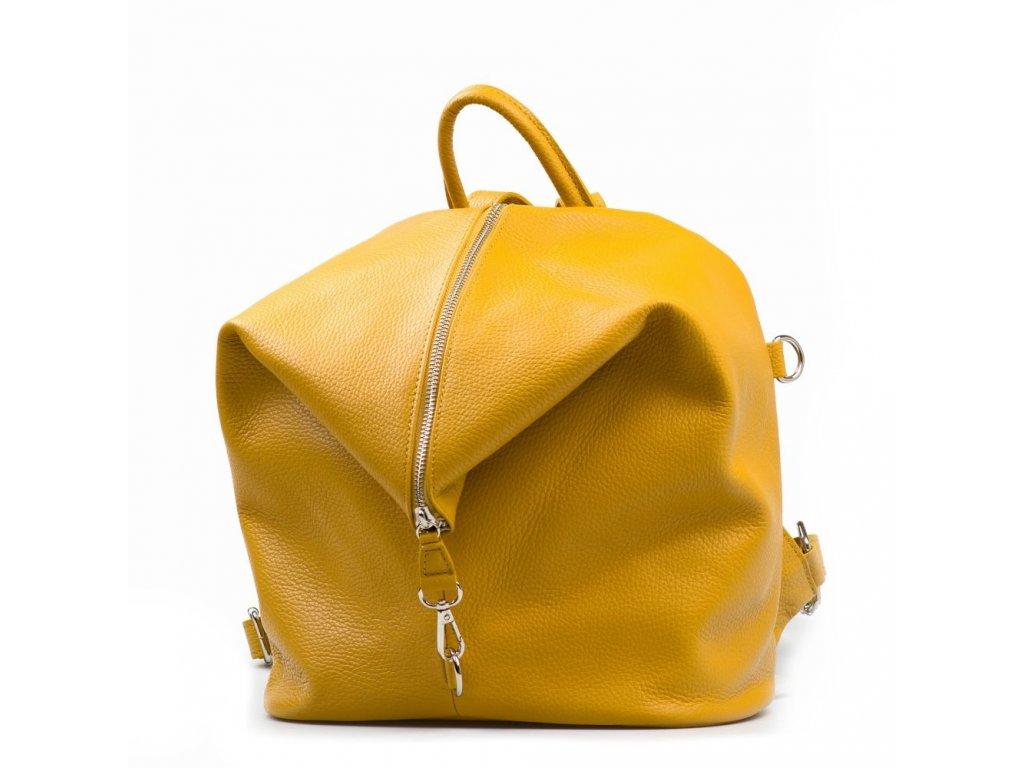 Kožený batůžek Nicola žlutý