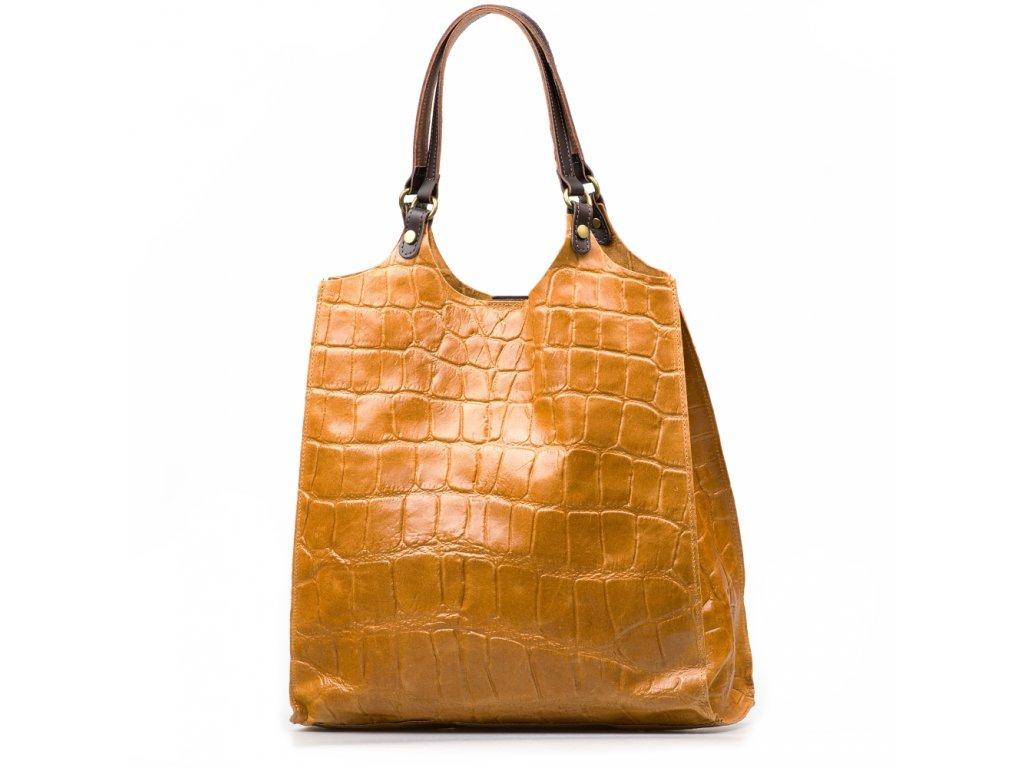 Kožená kabelka Zoelle koňakově hnědá