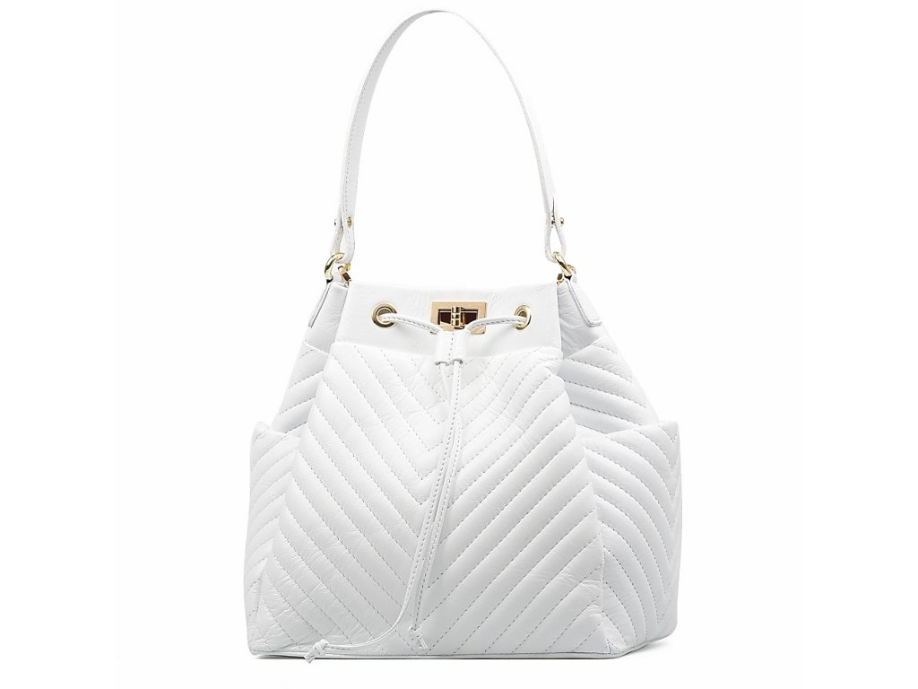 Kožená prošívaná kabelka Marlene bílá