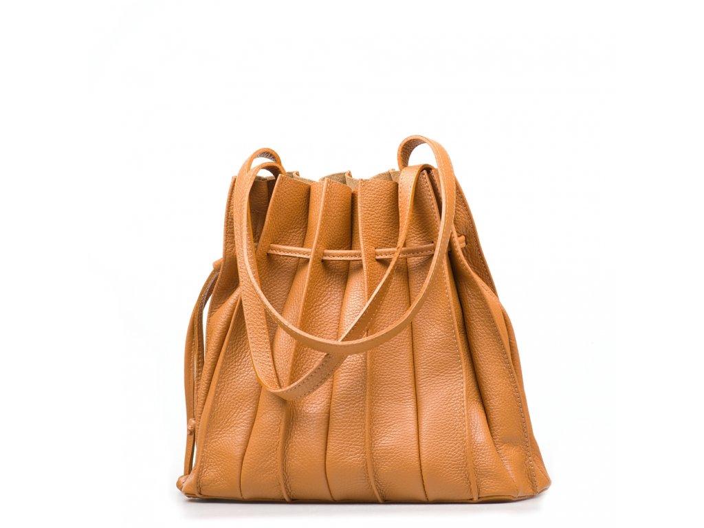 Kožená plisovaná kabelka Clara koňakově hnědá