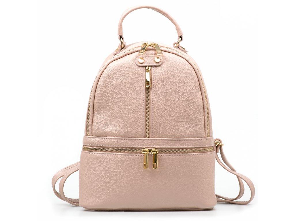 Kožený batůžek Corinne pudrově růžový