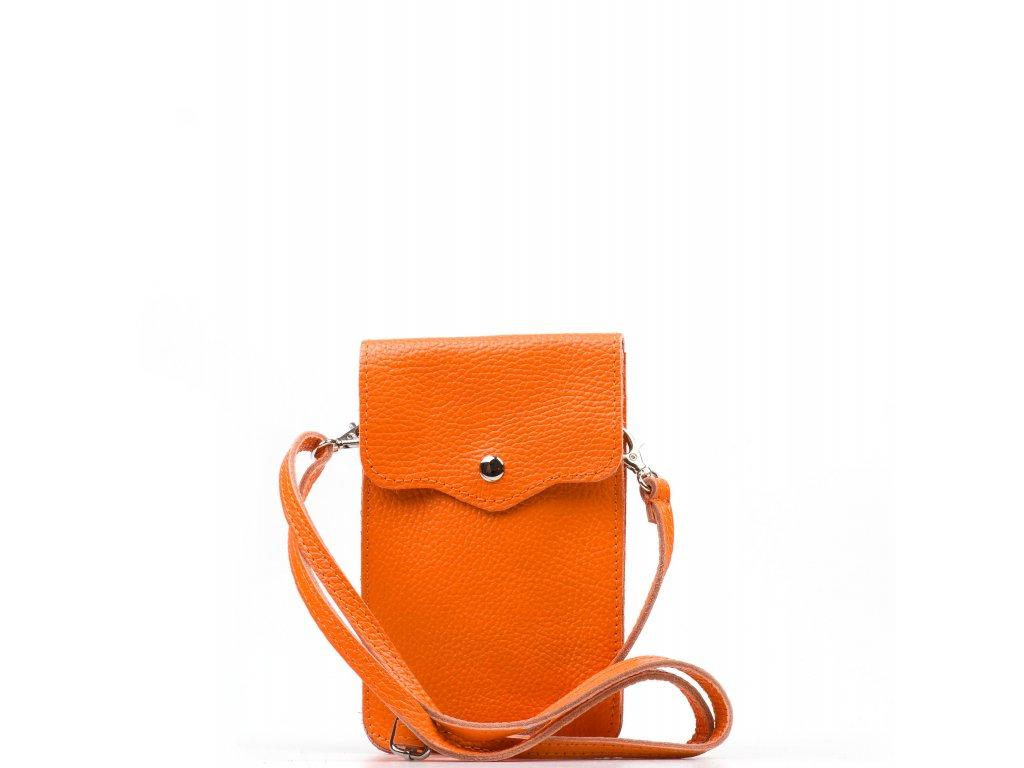 Kožená mini kabelka Jessi na telefon oranžová
