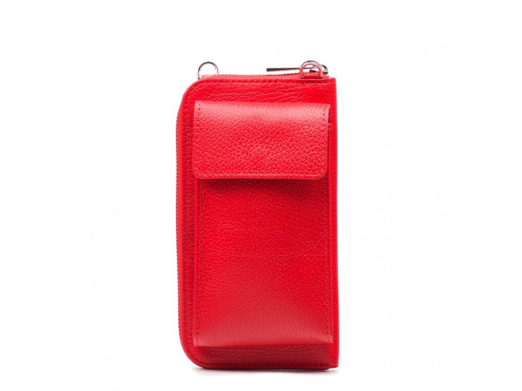 Kožená mini kabelka a peněženka Tonny červená