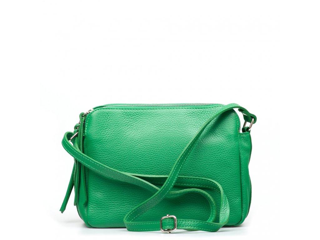 Kožená crossbody kabelka Leia zelená
