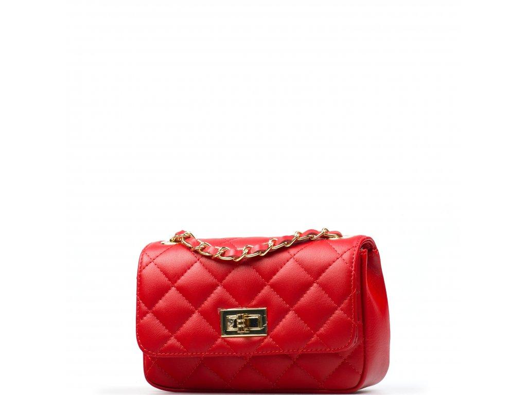 Kožená prošívaná kabelka Flo červená