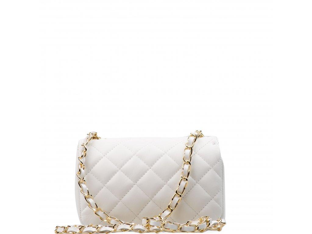 Kožená prošívaná kabelka Flo bílá