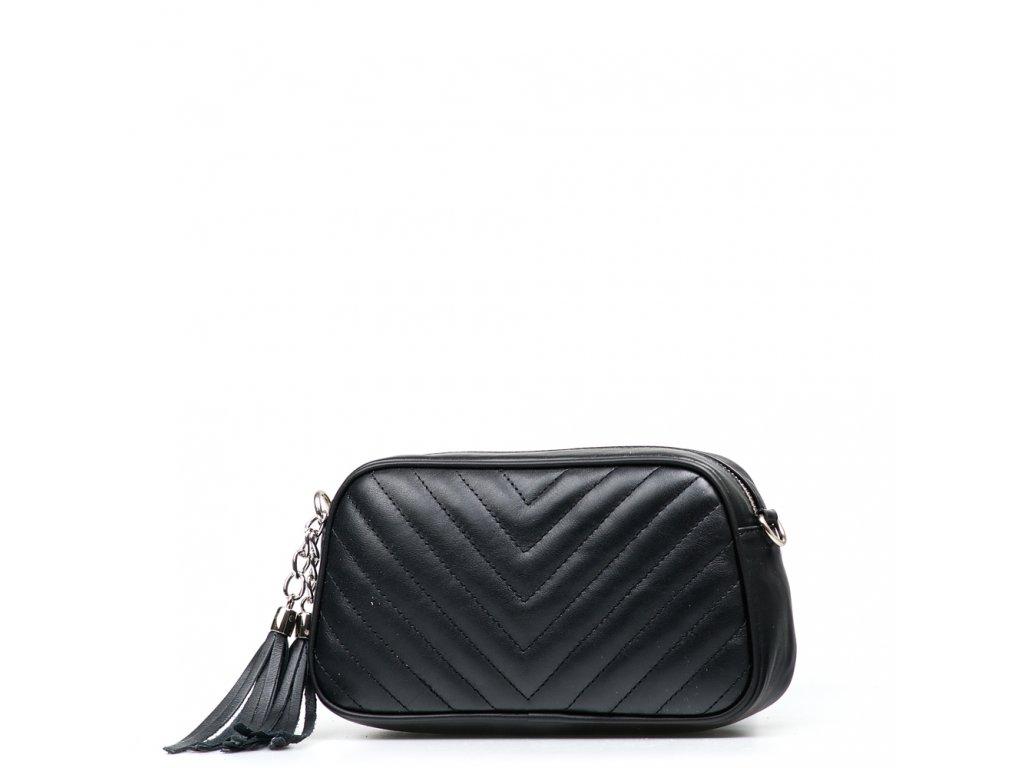 Kožená prošívaná kabelka Nina černá