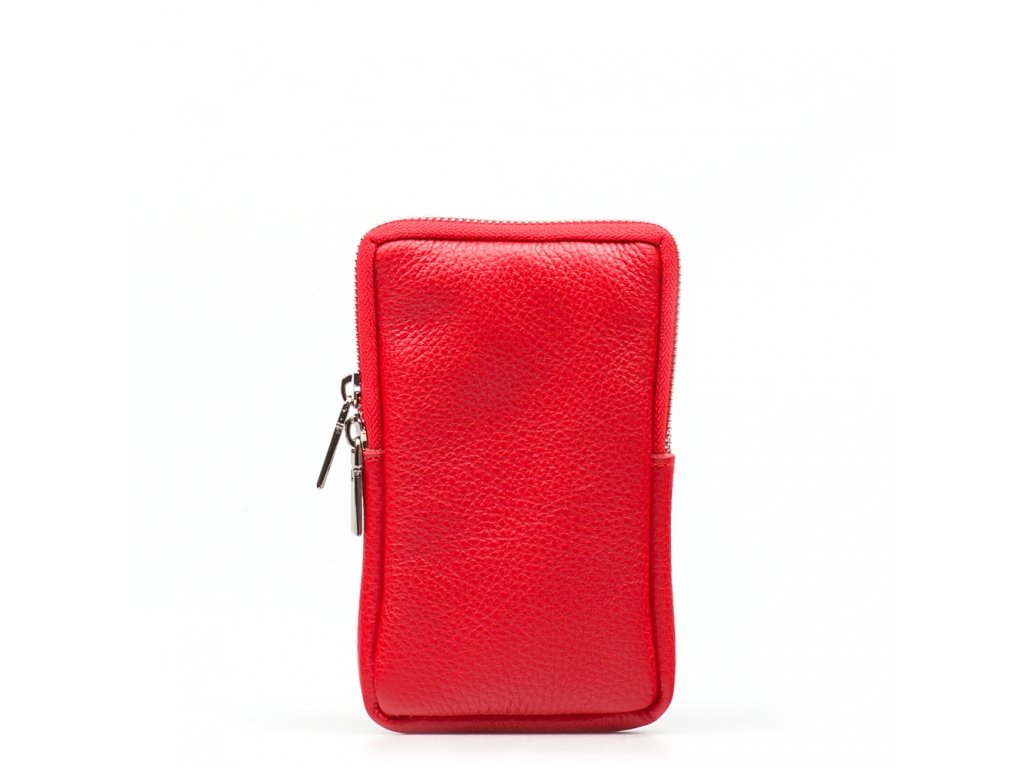 Kožená mini kabelka Mila na telefon červená