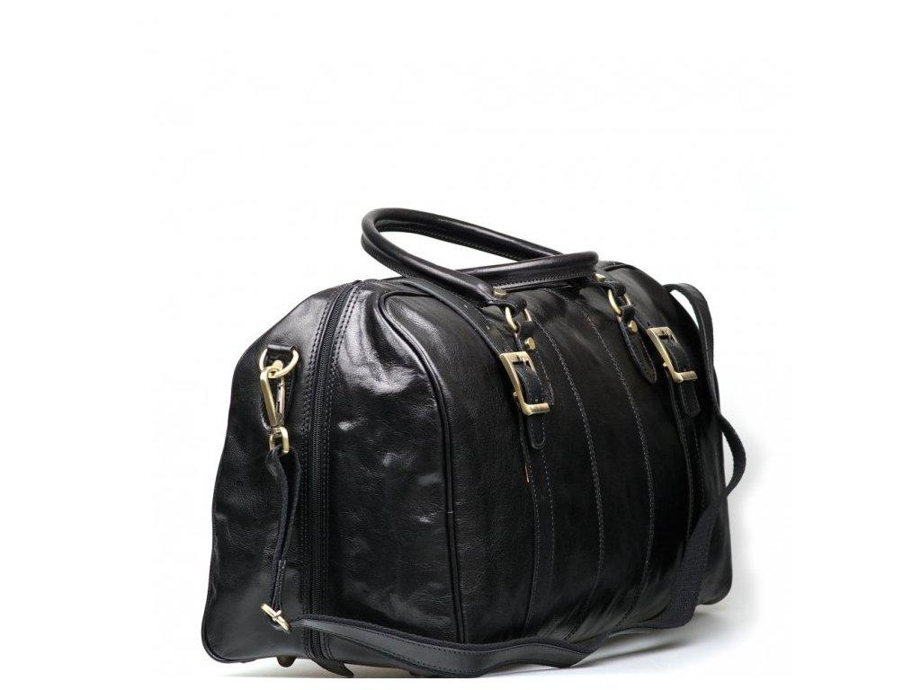 Kožená cestovní taška Milvia černá